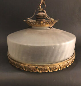 Antique French Single Light Fancy Brass Cake Shaped Frosted Glass Chandelier