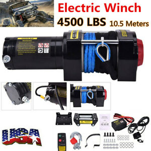 Electric Winch 4500lbs 12v Dc Atv Winch Wireless Handheld Remote Synthetic Rope