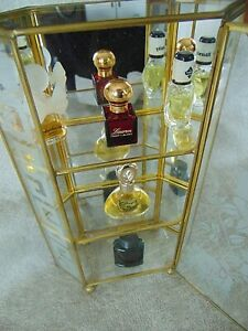 Vintage Glass Brass Mirror Curio Cabinet 6 Sided Etched Inc 5 Sample Perfume Col