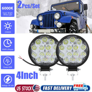 2x 4inch 42w Round Led Work Lights Pods Spot Offroad Truck Suv Fog Driving 12v