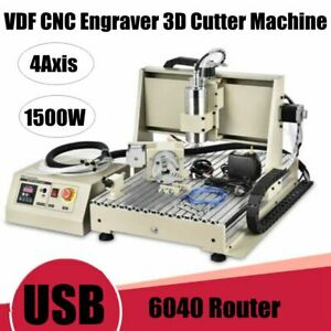 4axis 6040 Cnc Router Engraver Engraving Milling Machine Metal Cutter 1500w Usb