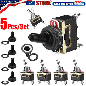 5 Set Waterproof Toggle Flick Switch 12v On off Car Dash Light Metal 12volt Spst