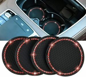 4pcs Car Coasters For Cup Holders Cup Pad Auto Anti Slip Rhinestone Cup Pad Fits 2004 Saturn Ion
