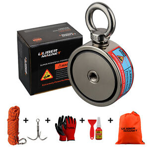 440bs 2 Two Sided Strong Fishing Magnet Kit N52 Grapping Hook 20m Durable Rope