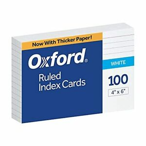 Oxford 4 X 6 Ruled White Index Cards 100 pack
