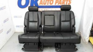 07 14 Chevy Tahoe Lt Rear Second Middle Row Seat Black Leather Split Bench 6040