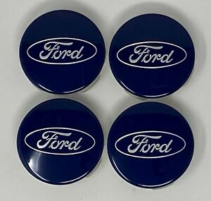 New Ford Center Caps Set Of 4 Blue W Silver For Alloy Wheels 17 21 Be8z1130a