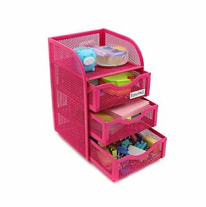 Mesh Desk Accessorie Organizer 3 Drawer Office Supplies Caddy Sturdy Durable