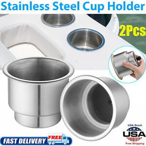 2pcs Stainless Steel Cup Drink Holder With Drain For Marine Boat Car Truck Rv