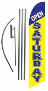Open Saturday Advertising Feather Banner Swooper Flag Sign With Flag Pole Kit
