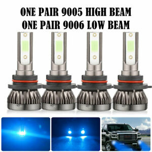 4pcs Mini 9005 9006 Led Headlight Kit Combo High Low Beam Bulbs Ice Blue 8000k