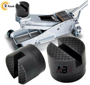 2pcs Universal Car Suv Slotted Frame Rail Hydraulic Floor Jack Disk Rubber Pad