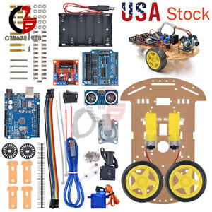Avoidance 2wd Robot Smart Car Diy Chassis Kits Speed Encoder Tire For Arduino