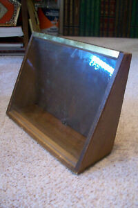 Antique Wood And Glass Small Counter Slant Display Case