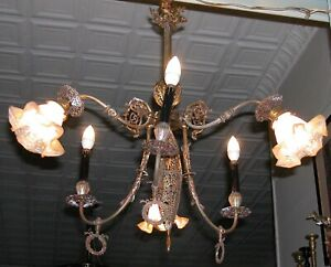 Antique French Art Nouveau Brass Filigree Gasolier Fixture Chandelier 6 Lamp 34