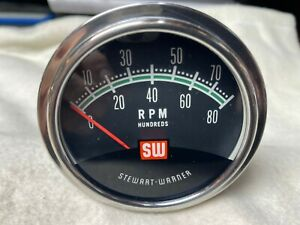 8k Stewart Warner Vintage Tachometer Tested With Sending 8cyl Nos Mint