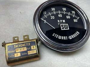 8k Stewart Warner Vintage Tachometer Tested With Sending 8cyl Unit Mint