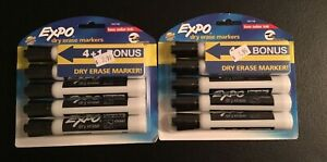 Lot Of 2 Expo Black Low odor Dry Erase Markers Chisel Tip 5 count total Of 10