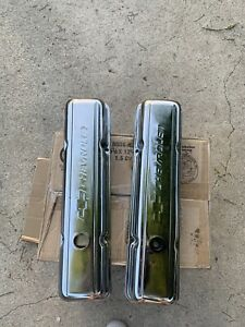 Chevrolet Logo Chrome Valve Covers Small Block Vintage Bowtie Short Pair