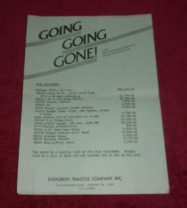 Vintage Evergreen Tractor Company Used Equipment Special Sale List Lebanon PA $14.11