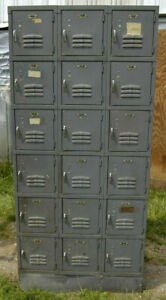 Vintage Medart 18 Square Gym Employee Lockers Set 3x6