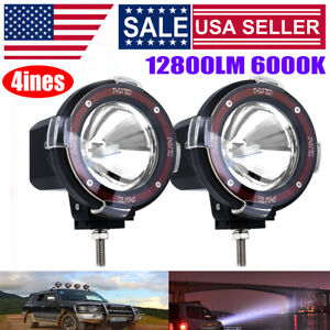 Pair 4 Inches Round 4x4 Off Road 6000k Xenon Hid Fog Lamp Light Spot 2pcs relay
