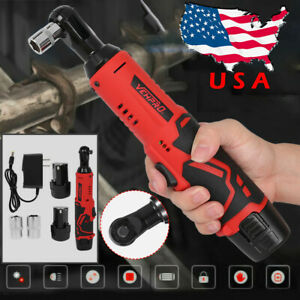 Electric Cordless Ratchet Right Angle Wrench 3 8 12v Power Tool 2 X Battery