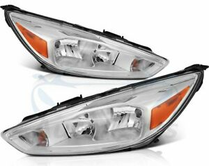 For 2015 2018 Ford Focus Headlight Assembly Left Right Replacement Pair Headlamp