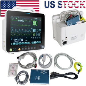 Portable 12 Icu Cardiac Patient Monitor Vital Signs Ecg resp nibp spo2 temp pr