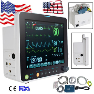 Color 12 Vital Signs Patient Monitor Ecg Nibp Resp Temp Spo2 Pr Cardiac Fda ce