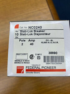 Federal Pioneer Schneider Electric Fpe Stab lok Breaker Nco240 Push In 40amp New