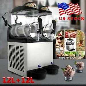 2 Tank 24l Commercial Frozen Drink Slush Making Slush Machine Smoothie Maker Us