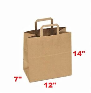 Paper Bag 12 x7 x14 With Flat Handle Case Of 50 For Restaurants Free Shipping