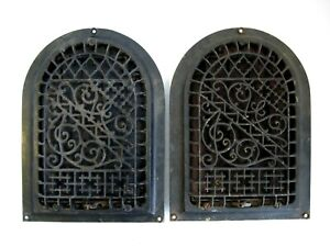 Antique Cast Iron Arched Gothic Heat Grate Wall Register 8 X 12 Lot Of 2
