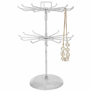 Vintage White Metal Jewelry Organizer Tower Necklace Tree Display Stand