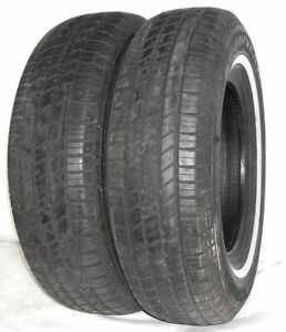 Used Pair Goodyear Tires P215 75r15 Goodyear Viva 2 White Wall 100s 2157515