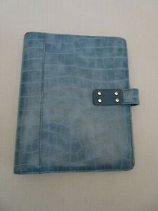 Day timer Planner Organizer 7 Ring Refillable Blue 9 5 X 7 5 Faux Leather