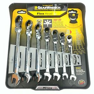 Gearwrench 7pc Metric Flex Head Combination Wrench Set 44006