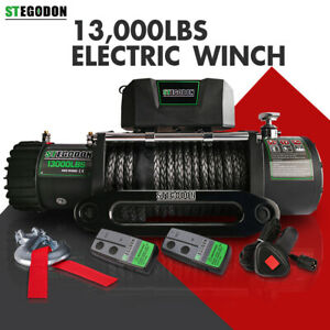Stegodon Electric Winch 13000lbs 12v Synthetic Rope Towing Truck Trailer Jeep