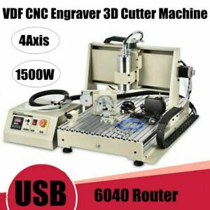 Usb 1 5kw 4axis Cnc 6040 Router Engraver Mill drilling Metal Cutting Machine Usa