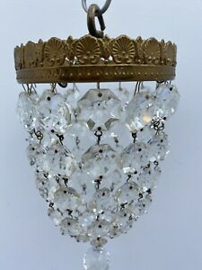 Antique French Brass And Crystal Bag Chandelier Ref 2