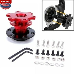 Red Universal Car Steering Wheel Quick Release Hub Adapter Snap Off Boss Kit