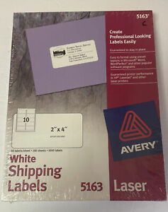 Avery 5163 White Shipping Labels 2 X 4 1000 Labels Brand New Sealed