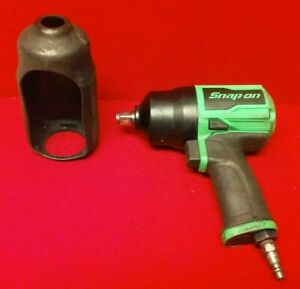Snap On 1 2 Pneumatic Impact Wrench Pt850g Green With Protective Cover