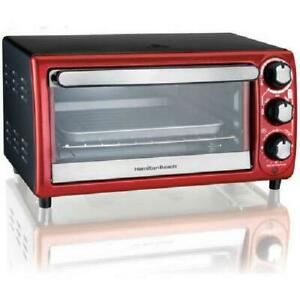 Mini Toaster Oven With Pan 4 Slice 5 Settings 9 Pizza Bake Broiling Rv Counter