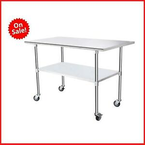 Commercial Kitchen Worktable Food Prep Table Prep Restaurant Indoor Stainless