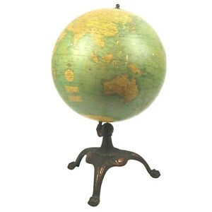 Antique Globe Library Weber Costello 12 Inch With Patinated Metal Handsome