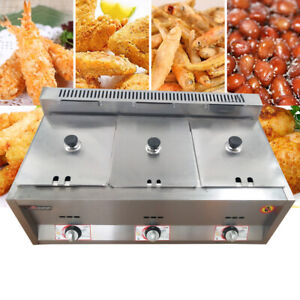 18l 3 Pan Commercial Stainless Steel Countertop Gas Fryer Ng propane Gas Fryers