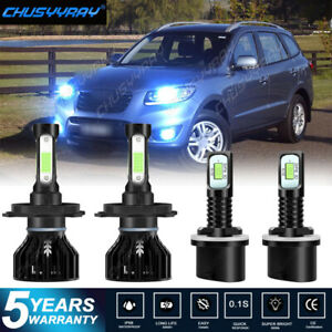 9003 H4 880 Led Headlight Fog Lightbulbs Combo For Hyundai Santa Fe 2002 2006