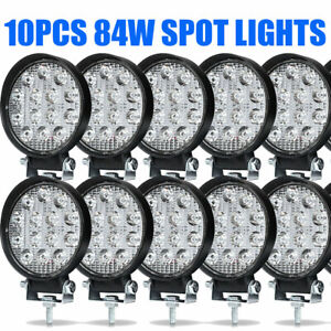 10pcs Led Work Light Spot Lights For Truck Off Road Tractor Atv Round 84w Usa
